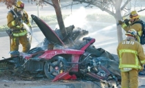Photo of crash that killed Paul Walker and friend.